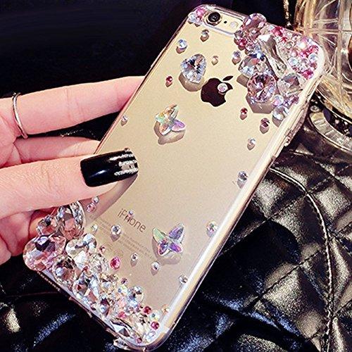 """iPhone 6/6S 4.7"""" Coque pour Filles,iPhone 6/6S 4.7"""" Coque Bling Strass,Hpory élégant Luxe Cristal Bow-knot Motif Bling Brillant Shiny Glitter Strass Ultra Thin Coque pour Femmes Filles Etui Housse de  Diamants,rose"""