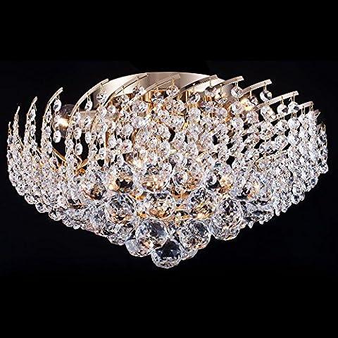 Luxus Deckenleuchte Kristall rund, klare Kristalltropfen, Chic-Stil, goldenes Metall, Barock, 6-flammig, exkl.E14 40W 220V