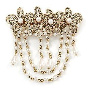 Avalaya Haarspange, Vintage-Stil, mit goldfarbenen Kristallen, weiße Kunstperlen, Blumen-Design, 95 mm breit