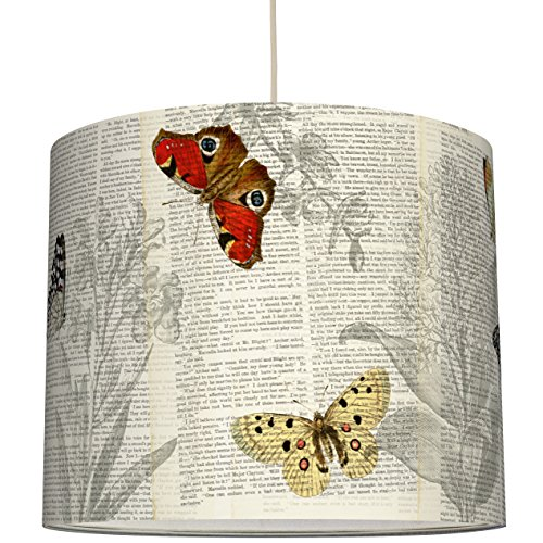 anna wand Lampenschirm Design SCHMETTERLINGE & TYPO – Schirm für Lampen mit Natur-Motiv und Schrift – Sanftes Licht für Tischleuchte/Stehlampe / Hängelampe im Wohnzimmer, Esszimmer, Schlafzimmer
