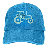 2018 Adult Fashion Cotton Denim Baseball Cap This is How I Roll Tractor 1 Classic Dad Hat Adjustable Plain RoyalBlue