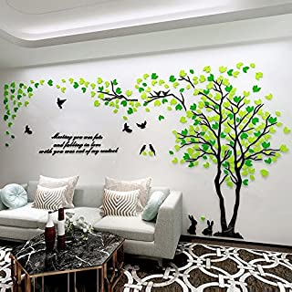 JYSPORT Wandaufkleber, Wandtattoo, selbstklebende Wandtattoo 3D Kristall des Paares Baum für TV / Sofa Hintergrund / Wohnzimmer etc (Green and Yellow, XL)