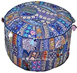 Indian Bohemian Patchwork Pouf Ottoman, Vintage Indian Pouf, pouffe, pouffes, Foot Stool, Round Pouf Ottoman, Bean Bag, Floor Pillow Ottoman Pouf, Pillow Patterned Cocktail Vintage Hassock Pouffe, 18x13 Inch. By Bhagyoday