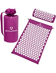 #DoYourFitness Acupressure Mat & Head Cushion Set »Jimuta« / Mat + Carry Bag + Pillow / 100% Cotton, meditation massage yoga mat & cushion set / purple