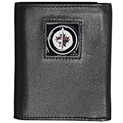 NHL Winnipeg Jets Deluxe Leather Tri-Fold Wallet Packaged in Gift Box, Black