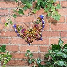 Metálico mariposas arte de pared con joyas decoración para iluminar su jardín–mariposa (morado)