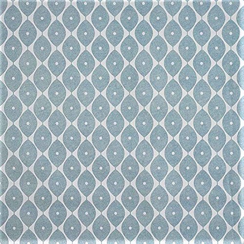 LINEN702Vinyl PVC Tischdecke 2Meter (200x 137cm) Marokkanischer Duck Egg Blau. Passend bis A 6-Sitzer Größe Rechteck Tisch, abwischbar, Textil Kunststoff Tischdecke (283) - Tischdecke Rechteck Blau