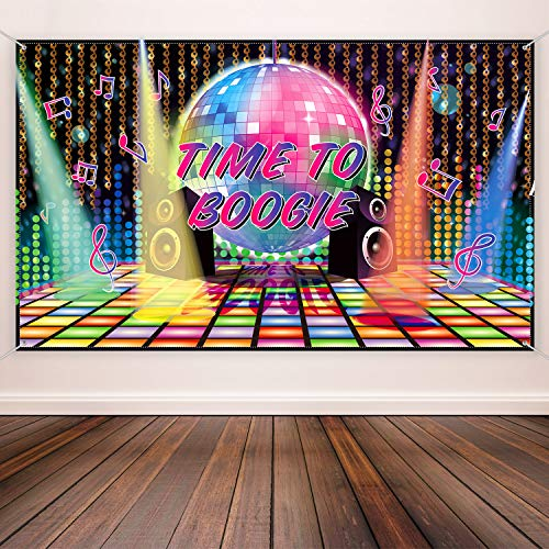 Time To Boogie Backdrop Banner Decoration for 70s Disco Party