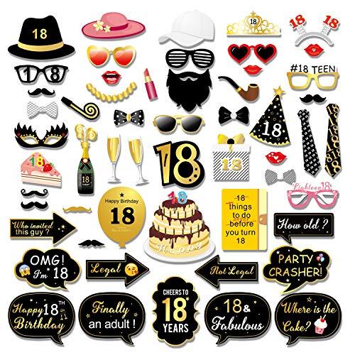 burtstag Photo Booth Props Foto Requisiten, Schwarz und Gold 18 Geburtstag Dekorationen Mädchen Jungen DIY Fotoaccessoires oder Geschenk ()
