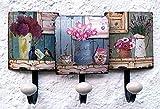 LB H&F Lilienburg Garderobe Wandgarderobe Hakenleiste Metall 3er 35cm gross Kleiderhaken Blumen bunt ANT