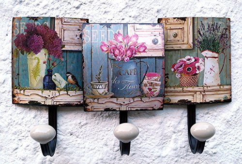 Garderobe Wandgarderobe Hakenleiste Kleiderhaken Blumen bunt ANT