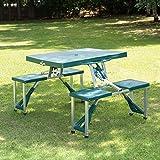 Outsunny-Aluminium-Picknicktisch und -Bank, für Partys und BBQs, 4Sitzplätze und 1 Tisch, zusammenklappbar und tragbar