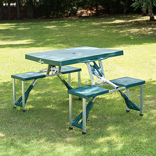 Outsunny Aluminum Picnic Table and Bench Set Camping Garden Party ...