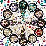 12 Boîtes Strass Diamants Perles d'Art d'Ongle Strass Cristal de Dos Plat de Taille Mixte pour DIY Artisanat de Bijoux Maquillage Décorations 3D, 12 Styles (Style A)
