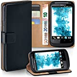 OneFlow PREMIUM - Book-style case in a wallet design with stand function - for HTC Desire S - DEEP-BLACK