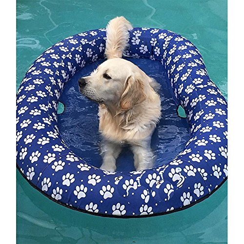 Ginkago Galleggiante Gonfiabile della Piscina per i Cani ed i Cuccioli, Grande Giro Blu Moderno del gabinetto del Nuoto del Cane da Compagnia (Blue)