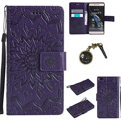 Preisvergleich Produktbild PU Silikon Schutzhülle Handyhülle Painted pc case cover hülle Handy-Fall-Haut Shell Abdeckungen für (Huawei P8) +Staubstecker (5FF)