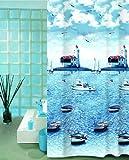wohnideenshop Duschvorhang Textil, Cunda Boote, 240cm breit x 200cm lang, mit Ringen