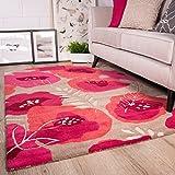 Raspberry Pink Floral Design Pattern Living Room 100% Wool Woollen Rug 160cm x 230cm