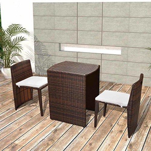 Preisvergleich Produktbild vidaXL Balkongruppe Poly Rattan Braun Essgruppe Gartenmöbel Sitzgruppe Gartenset