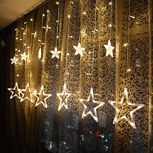 lovelyhome Curtain String Lights, 2.5 m 138 LED Window Curtain Lights for...