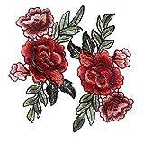2 Stück Rose Blume Stickerei Spitze Aufnäher Aufbügler Applikation Iron on Patches Für T-Shirt Jeans Hut Dekor