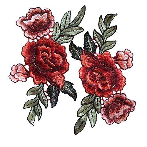 2 Stück Rose Blume Stickerei Spitze Aufnäher Applikation Patches Für T-Shirt Jeans Hut Dekor -