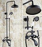 Schwarzes Öl rieb Messing Wand Regendusche Wasserfall Armatur Set Dual Cross Griff Badezimmer Badewanne Wasserhahn fhg112, Weiß