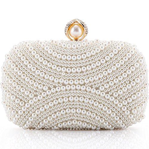 Perlen Abendtasche-clutch (LONGBLE Damen Clutch Perlen Weiß Abendtasche für Party Hochzeit Frau Geschenk Tasche Elegant Handtasche klein Brauttasche Kettentasche Umhängetaschen Schultertaschen)