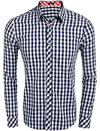 7151eaa7d335f Coofandy Camisa Casual a Cuadros Manga Larga para Hombre Vestir