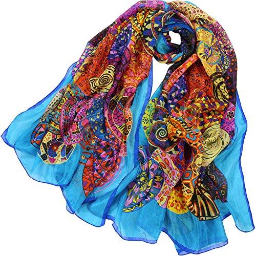 YRXDD Impression d'écharpes en Soie Soie Longue Section Femme Towel de Plage crème Solaire châle Section Mince (110 * 180cm)