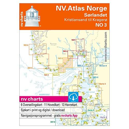 NV No 3, Norwegen - Sørlandet OST, Kristiansand bis Kragerø (Papier + Digitale Karten), Atlas-Format -