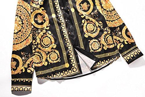 Pizoff Herren Luxus Langarm Golden Hemden mit Baroque-Motiven Y1792-18