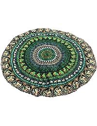 Toalla de Playa Redondo Microfibra Tapiz de Pared Indian Mandala, Manta Multi-Funcional para