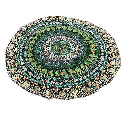 YEARNLY Indien Strandtuch Rund Mandala Hippie/Groß Indisch Rundes Chiffon/Boho Runder Yoga Matte Tuch Meditation/Tischdecke Rund aufhänger Decke Picknick handgefertigt Teppich 150 * 150cm