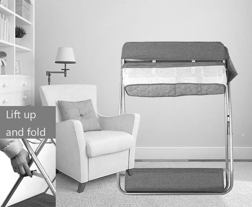 Baby Changing Table Diaper Station Dresser for Infant/Children, Foldable Nursery Organizer, Cross Leg Style GUYUE 16cm safety fence height. Steel pipe + Oxford cloth + PP.(The diaper table has a bearing capacity of 20kg.) Size- As shown, 74x64x96cm(1cm=0.39 inch) Suitable for babies weighing less than 15kg. 3