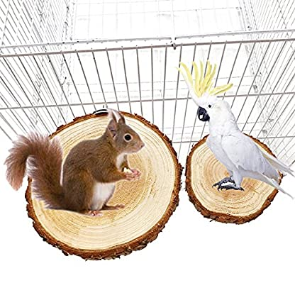 Decdeal Bird Cage Accessories Pet Round Wooden Coin Jumping Platform Chew Toy 4