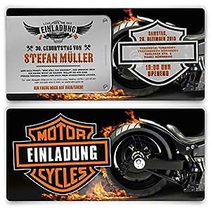 Einladungen zum Geburtstag (50 Stück) Biker Motorrad Motiv