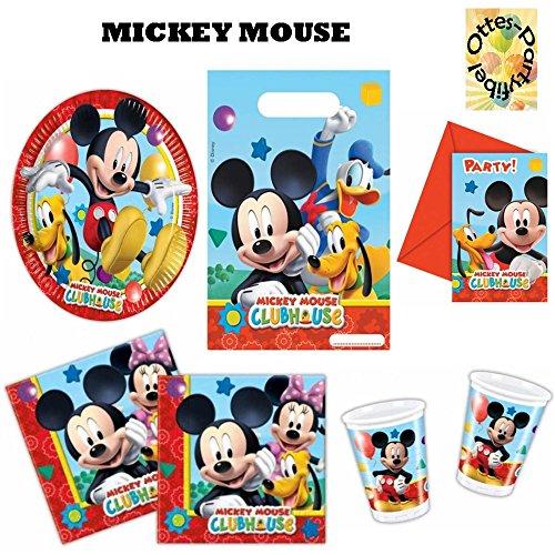 se Partyset 48tlg. Becher Teller Servietten Tüten Einladungen für 6 Kinder (Mickey-maus-party Becher)