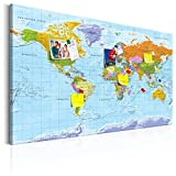 murando - deutsche Weltkarte Pinnwand & Leinwand Bild 120x80 cm - 1 Teilig - Wandbilder als Korktafel-Korkwand nutzbar - Kontinent Landkarte Lernkarte k-A-0151-v-a