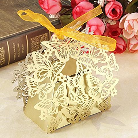 Wedding Gift Candy Sweet Boxes DIKETE® 50pcs Butterfly Hollow Pattern Birthday Party Bridal Shower Favor Decorative Present Box Bomboniere with Ribbon (Gold)