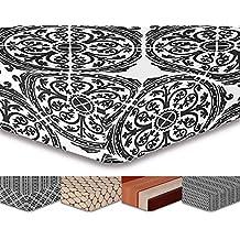 decoking Premium 93320sábana bajera 200x 220cm Puente 30cm blanco y negro diseño geométrico sábana bajera de cama de microfibras gaardi Black White HYPNOSIS Collection Mandala