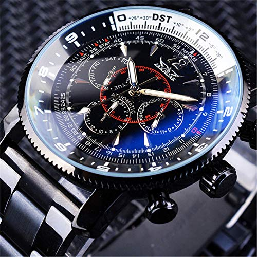 YANGSANJIN Herren Uhr Automatik,Fashion Skelett Herren Automatik mechanische Armbanduhr phosphoreszierende Zeiger
