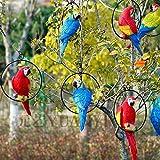 Papagei Vogel Statue Wellensittich mit Ring Yard Tree Rasen Ornament hängen Skulptur Dekoration Garten Handwerk-13 Zoll, Ein Satz von Drei (Sie wählen Farbe)