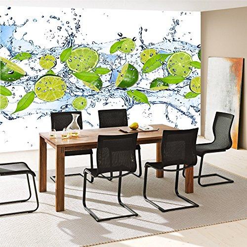 Vlies Fototapete 350×245 cm PREMIUM PLUS Wand Foto Tapete Wand Bild Vliestapete – Kulinarisches Tapete Limetten Wasser Blätter Tropfen Obst Frucht grün – no. 864 - 7