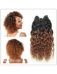 4pcs/lot 100g 100% Trame de cheveux humains courte Extensions de cheveux crépus bouclés 20,3cm–Couleur T1b33#