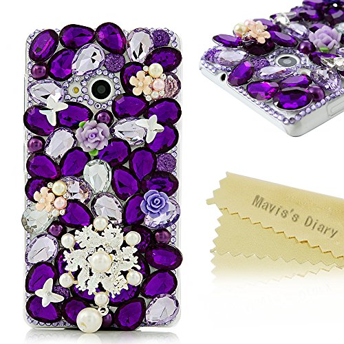 Custodia Nokia lumia 535 Bling Strass DIY - Mavis's Diary Diamante Cover PC di plastica trasparente estremamente sottile - Progettazione Pearl e Fiore