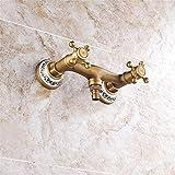 QINLEI europäischen stil sanitären einrichtungen, waschmaschine wasserhahn, blauen und weißen porzellan - wand wasserhahn, kupfer retro - warmen und kalten wasserhahn