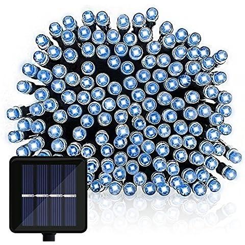OMGAI Cadena Solar De Luces, 12m 100LEDs Hada Solar Cadena Luces para Navidad Decoraciones, Fiesta, Al aire libre, Jardines, Casas, Boda, Patio Azul[Clase de eficiencia energética