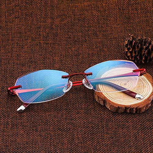 Rziioo Lesebrille, Metallrahmen Klare Linse Brille Rezeptfrei, Anti-Strahlung Und Anti-Blau-Licht-Brille,1.50